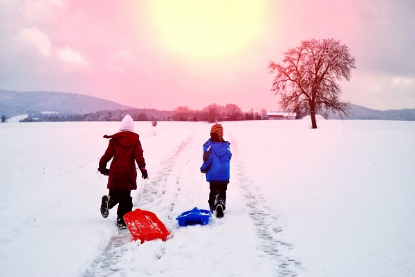 Rear View Of Siblings With Sled Running On Snow Against Sky